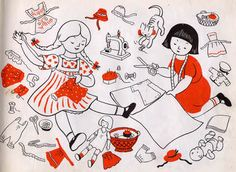 Lois Lenski, illustration of little girls sewing. She wrote and illustrated 50 books, including 'Strawberry Girl', 'Prairie School', and 'Indian Captive'. Fabulous!