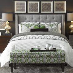 Dublin Upholstered Winged Bed - HGTV Custom