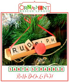 As Christmas nears Santa doesn't have much time for relaxation, but he does take time out for his weekly game of Scrabble with the elves. Scrabble Letter Crafts, Scrabble Ornaments, Scrabble Tile Crafts, Scrabble Art, Scrabble Coasters, Puzzle Crafts, Diy Coasters, Wood Ornaments, Christmas Ornaments To Make