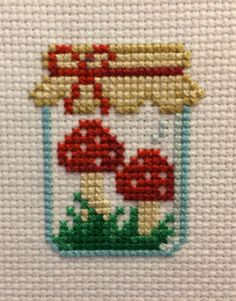 Mushroom Jar Cross Stitch Pattern, You can create very unique habits for textiles with cross stitch. Cross stitch versions may nearly amaze you. Cross stitch newcomers may make the versions they need without difficulty. Tiny Cross Stitch, Cross Stitch Kitchen, Cross Stitch Cards, Cross Stitch Designs, Cross Stitching, Cross Stitch Embroidery, Embroidery Patterns, Hand Embroidery, Easy Cross Stitch Patterns