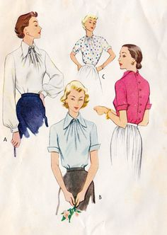 1950s Misses Blouse Vintage Sewing Pattern, Summer Fashion, Spring Fashion, McCall's 8633 bust 30""
