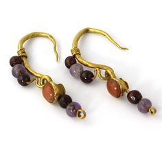 A Pair of Roman Gold, Garnet, Coral and Amethyst Earrings, ca. 1st century AD - Sands of Time Ancient Art