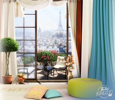 Wall mural Great terrace in Paris Illustration of Paris under the full moon from a terrace with flowers of different colors. Tour Eiffel, Poster Xxl, Glam Room, Art Pictures, Art Pics, Interior Design Kitchen, Christmas Home, Wall Design, Decorating Tips