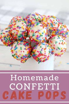 Make every day a celebration with this quick, easy-to-make Confetti Cake Pop Recipe! #cakepops #funfetticake Holiday Recipes, Party Recipes, Confetti Cake, Barbecue Recipes, Pinterest Recipes, Air Fryer Recipes, Cake Cookies, Fun Desserts, Cake Pops