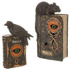 """RAZ Imports 10.5"""" Lighted Eye Spell Books Set/2 Halloween Resin NEW!"""