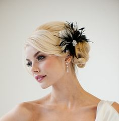 Delphine - black and white feather fascinator with crystals by Powder Blue Bijoux, $79