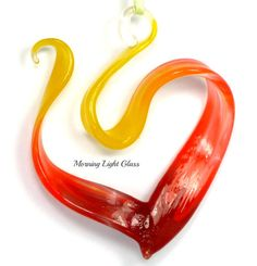 Heart on Fire Glass Ornament Lampwork by MorningLightGlass on Etsy