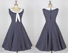 1940s 50s Sailor Dress navy blue with white dot