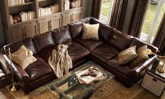 Tips That Help You Get The Best Leather Sofa Deal. Leather sofas and leather couch sets are available in a diversity of colors and styles. A leather couch is the ideal way to improve a space's design and th Furniture, Leather Sectional, Living Room Furniture, Family Room, Home, Leather Couch, New Living Room, Couches Living Room, Living Room Leather