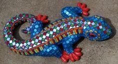 Glass mosaic on 3D glazed ceramic lizard. R700.00 SOLD