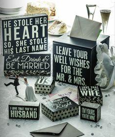 Box signs makes for adorable wedding decor!