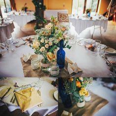peach and blue rustic wedding decor jam jars lace hessian origami essex uk based documentary photographer
