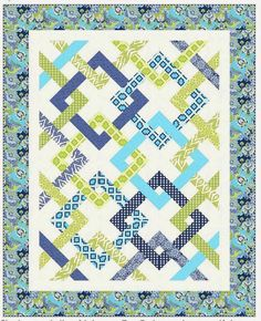 = free pattern = Fresh Connections by Jean Katherine Smith for Windham Fabrics. Featured at Quilt Inspiration. Strip Quilts, Quilt Blocks, Patch Quilt, Quilting Projects, Quilting Designs, Quilting Ideas, Modern Quilting, Quilt Patterns Free, Free Pattern