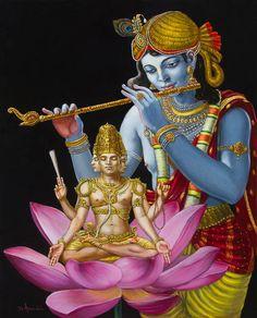 Krishna Painting - Brahma Hearing Vedic Knowledge From Krishna by Dominique Amendola
