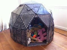 Cardboard Play Dome - how awesome is this?! We'd have to make a bigger version 'cause my big boys probably wouldn't want to help unless they could fit inside it.