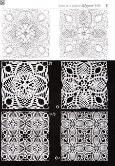 Square openwork motifs / ażurowe motywy kwadratowe