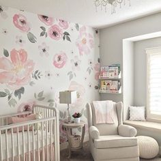 From the PN Shop: Absolutely LOVE seeing this Jolie wallpaper in this beautiful nursery. Score 15 off all wall decals and wallpaper through (Photo by Baby Bedroom, Nursery Room, Girls Bedroom, Nursery Decor, Nursery Ideas, Nursery Set Up, Bedrooms, Baby Nursery Themes, Nursery Modern