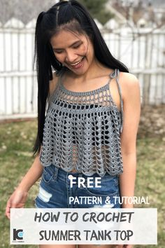 Fresh new look on a classic design. Free crochet written pattern and video tutorial includes sizes XS-XXL, as well as a cropped or longer version Crochet Bandeau Tops, Crochet Summer Tops, Crochet Shirt, Crochet Crop Top, Crochet Bikini, Knit Crochet, Mode Crochet, Crochet Woman, Crochet Fashion