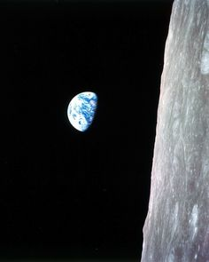 Famous photo of The Earth rising over the lunar horizon.
