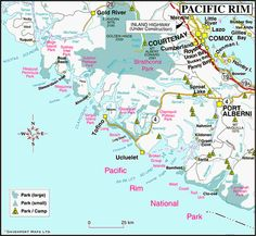 Map of the Pacific Rim, West Coast Vancouver Island, British Columbia, Canada