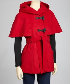 Red Hooded Cape Coat - Jessica Simpson - super cute