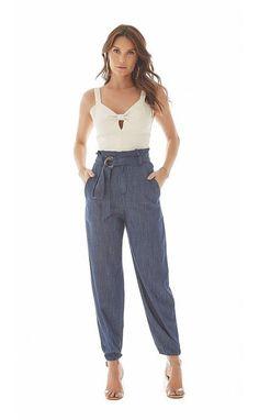 0683bef93 MARIA VALENTINA MODA FEMININA · Calca Cenoura Clochard Cos Largo Bolso Faca  Jeans