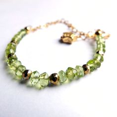 peridot gold vermeil bracelet golden pyrite gold by MissLadysmith, $75.00