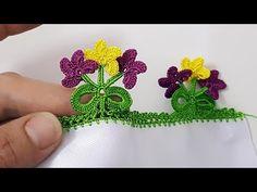 Fiyonkda Üç Çiçek Tığ Oyası Yapımı - YouTube