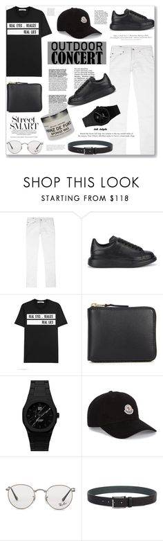 """""""#24 Outdoor Concerts: 02/06/17"""" by solyda-sok ❤ liked on Polyvore featuring True Religion, Alexander McQueen, Givenchy, Comme des Garçons, d1 Milano, Moncler, Ray-Ban, BOSS Hugo Boss, Hanz De Fuko and H&M"""