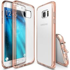 Galaxy Edge Case, Ringke [Fusion] Crystal Clear PC Back TPU Bumper [Drop Protection/Shock Absorption Technology][Attached Dust Cap] for Samsung Galaxy Edge - Rose Gold Crystal (Clear) S7 Edge Rose Gold, Galaxy S7, Samsung Galaxy, Cell Phone Accessories, Tech Accessories, Cap, Technology, Crystals, Pink