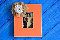 Rustic Wedding Orange Wood Picture Photo Frame Engagement Bridal Shower Gift Anniversary Parents Burlap Farmhouse Country Decoration by ContessaGarters on Etsy