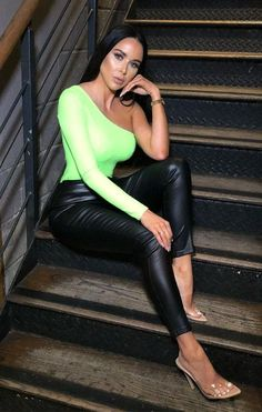 bd5228d478c0 Neon Lime Animal Crocodile One Shoulder Bodysuit | Bodysuits | Femme Luxe  Long Sleeve Bodysuit,