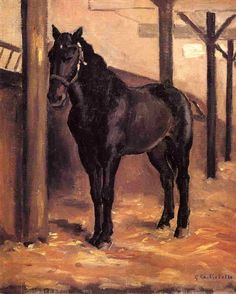 Yerres, Dark Bay Horse in the Stable, 1871-1878 Gustave Caillebotte -