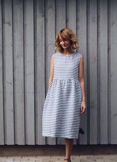 Striped Linen Dress  Sleeveless Linen Dress  Loose Fit Dress