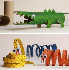 5 juguetes con rollos de cartón