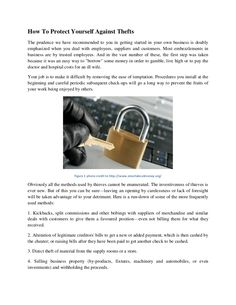 How to protect yourself from thefts and how others can benefit from these information as well.