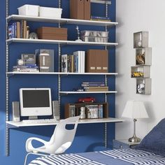 dget is a rail wall mounted shelving and desk system from the likes of The Container Store's elf system or California Closets, which would t...