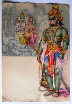 India Vintage Calendar Print Hindu God Rama Sita with Bhakta Hanuman Durga Images, Lord Krishna Images, Hanuman Images, Saraswati Goddess, Shiva Shakti, Om Namah Shivaya, Hanuman Photos, Rama Sita, Lord Shiva Statue