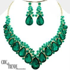 HIGH END GREEN CHUNKY GLASS CRYSTAL FORMAL WEDDING NECKLACE JEWELRY SET CHIC #Unbranded