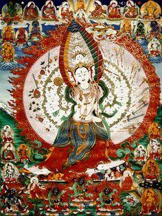 "Sitatapatra. The ""bodhisattva of the White Parasol"" and protector against supernatural danger. She is regarded as a female counterpart to Avalokiteśvara #Sitatapatra #Goddess traditionalartofnepal.com"