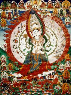 "Sitatapatra. The ""bodhisattva of the White Parasol"" and protector against supernatural danger. She is regarded as a female counterpart to Avalokiteśvara #Sitatapatra #Goddess traditionalartofnepal.com"