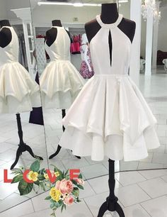 Unique Jewel Key Hole Front Knee-Length White Homecoming Dress with Beading Tiered,Cute prom dress,