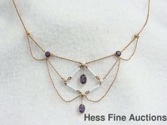 Antique Victorian Geometric 14K Rose Gold Enamel Seed Pearl Amethyst Necklace