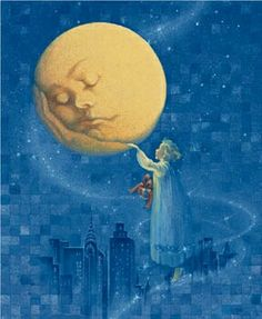 """Wake up, dear Moon"" - Illustration by Arlene Graston Sun Moon Stars, Moon Moon, Sun And Stars, Blue Moon, Moon Shadow, Fantasy Magic, Fantasy Art, Moon Dance, Moon Illustration"