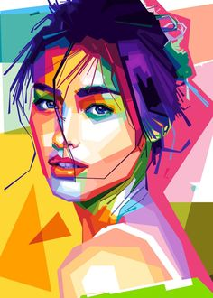 Pop Art Portraits, Portrait Art, Vector Portrait, Pop Art Drawing, Art Drawings, Pop Art Face, Polygon Art, Art Anime, Portrait Illustration