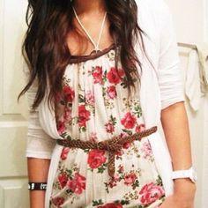 floral shirt + belt + cardigan