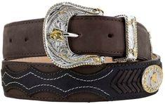 Mens Crocodile Tail Belt Print Leather Western Black Cherry Buckle Cinto Rancho