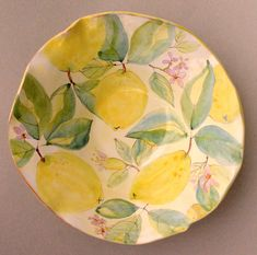 Lemons & Blossoms Watercolor Maiolica Bowl by Laurie Curtis