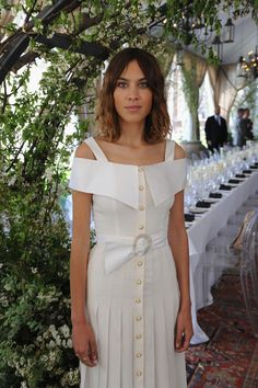Alexa Chung wearing Alessandra Rich at The NoMad Hotel in New York City