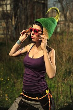 Unique handmade felt hats Green brown fanciful hat by Feltthink